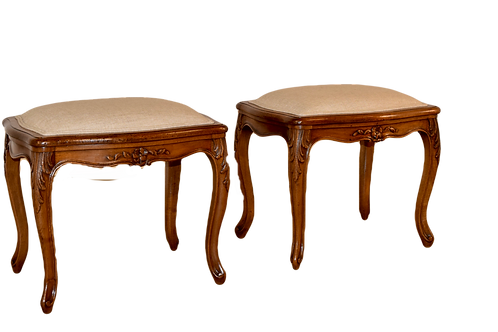 Pair of 19th C. French Cabriole Stools