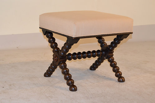 19th c.Stool with X-Stretchers