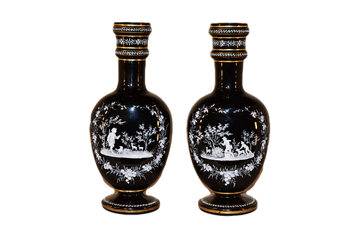 19th C. Pair of Mary Gregory Vases