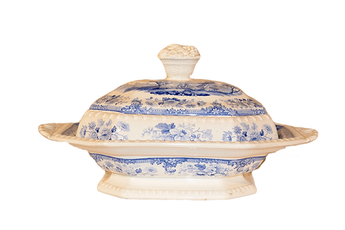 19th C Staffordshire Covered Vegetable Dish