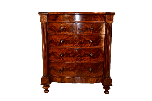 19th C. Large English Bowfront Chest of Drawers