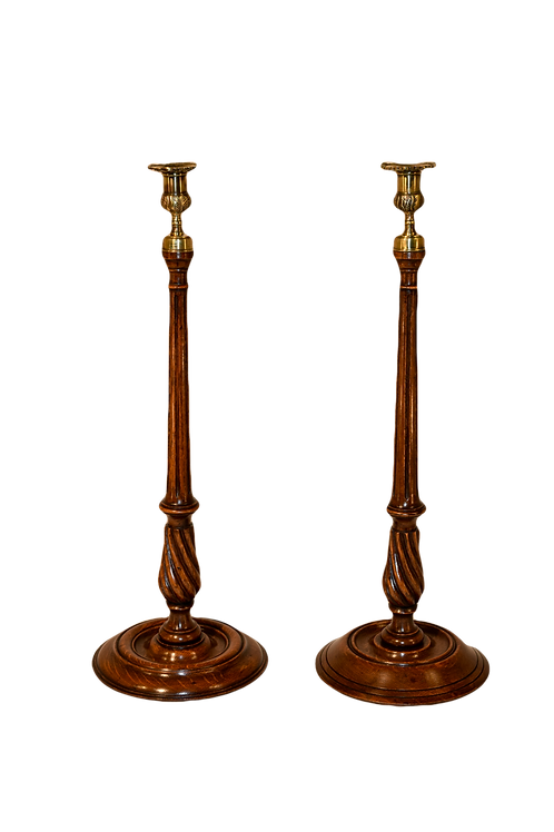 19th-C. Set of Two Tall Candlesticks