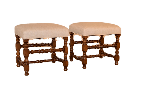 19th C. Pair of Turned Stools