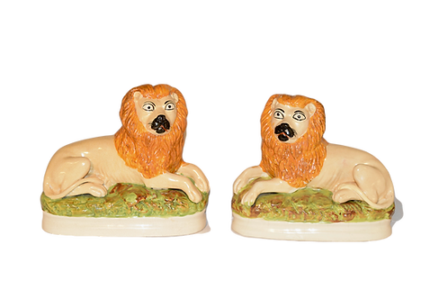 Pair of Rare 19th C. Staffordshire Lions