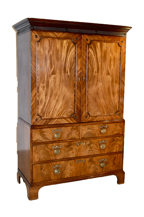 19th C. English Mahogany Linen Press