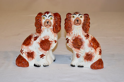 19th-C. Pair Of Small Staffordshire Dogs