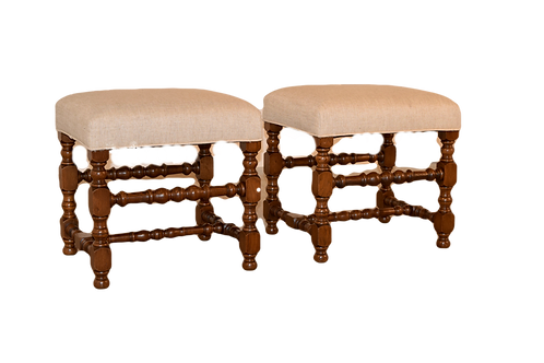 Pair of 19th C Turned Stools