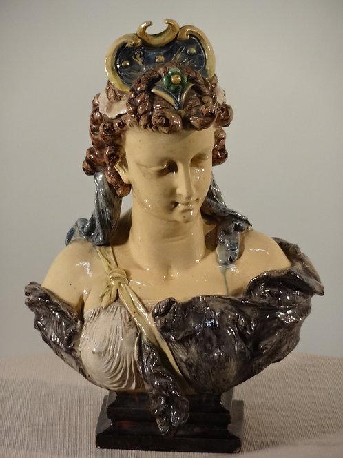 19th c. Majolica Bust