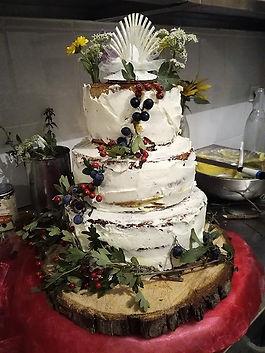 Naked cake, crémeux citron lavande et créeux chocolat