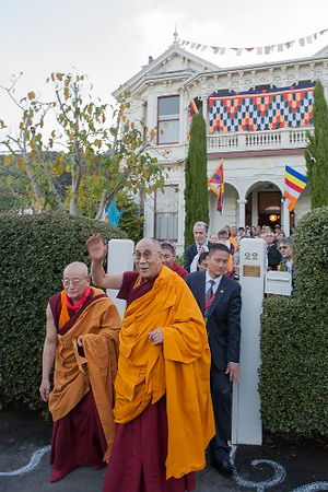 His Holiness the Dalai Lama visiting th Dhargyey Buddhist Centre