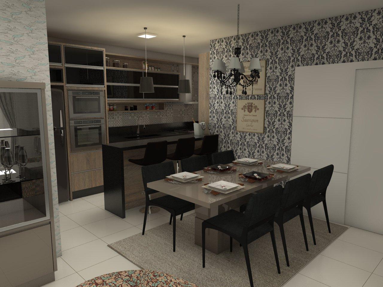Cozinha Planejada com Bancada e Mesa