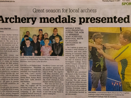 """Victor Times """"Archery Medals Presented"""""""