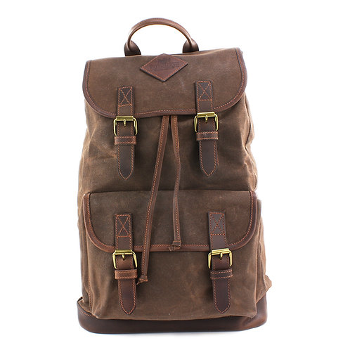Waxed Canvas Rucksack Front View