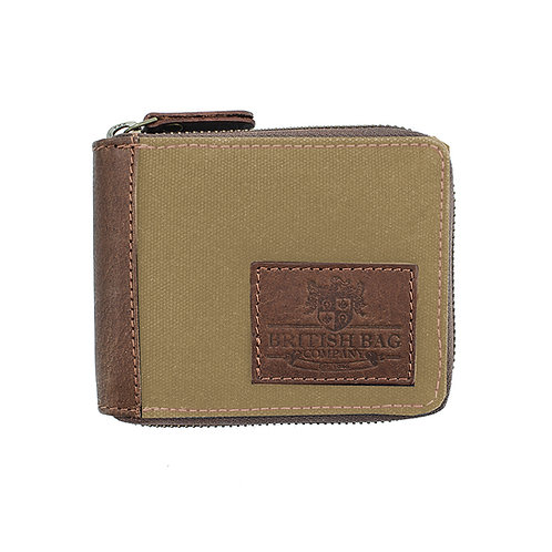 Waxed Canvas Zip Round Wallet Front View