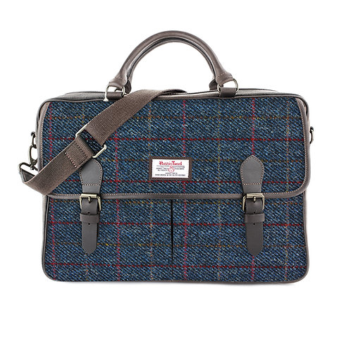 Allasdale Harris Tweed Leather Briefcase Front View