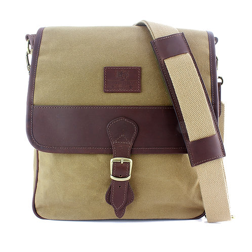 Waxed Canvas Cross Body Bag Front View