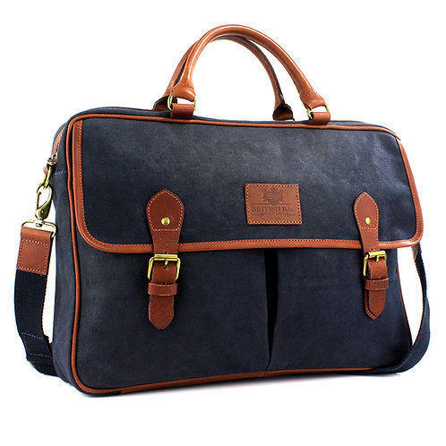 Waxed Canvas Briefcase Front View