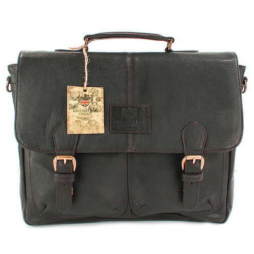 Lyndon Brown Leather Briefcase Front View