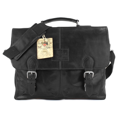 Oakham Leather Briefcase Black Front View