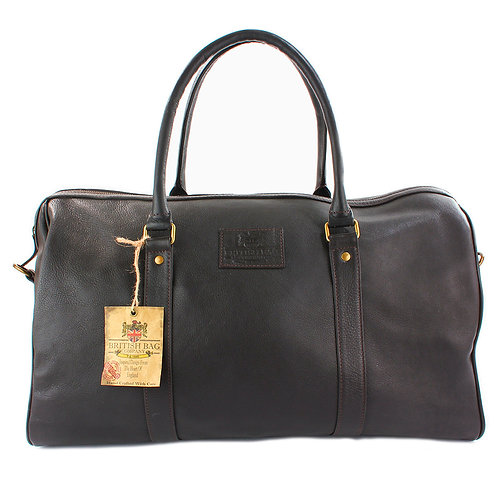 Lyndon Brown Leather Holdall Front View