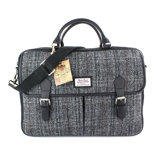 Berneray Harris Tweed Leather Briefcase Front View