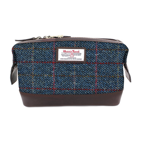 Allasdale Harris Tweed Leather Washbag Front View
