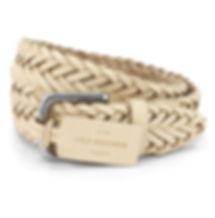Cole Brothers Cream Leather Plaited Belt