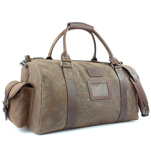 Waxed Canvas Holdall Front View