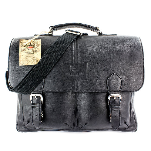 Lyndon Black Leather Briefcase Front View
