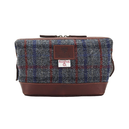 Finsbay Harris Tweed Leather Washbag