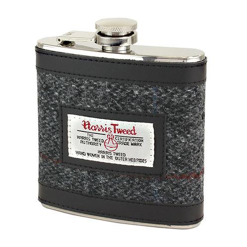 Berneray Harris Tweed Hip Flask Front View