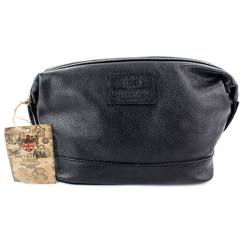 Lyndon Black Leather Washbag Front View