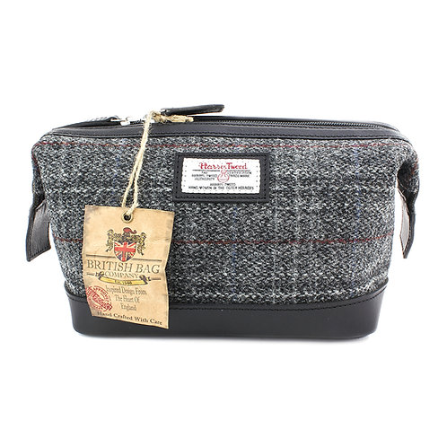Berneray Harris Tweed Leather Washbag Front View