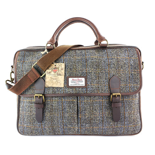 Carloway Harris Tweed Leather Briefcase Front View