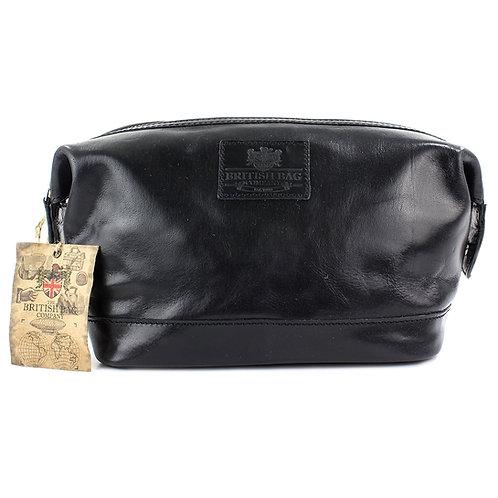 Oakham Black Leather Washbag Front View