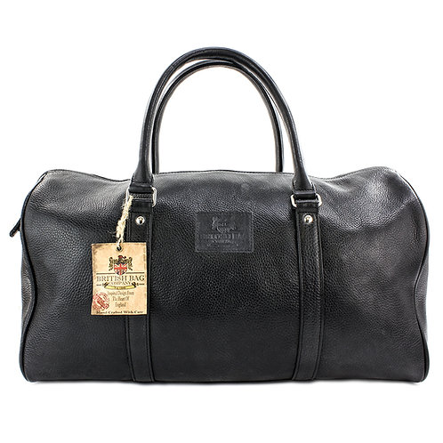 Lyndon Black Leather Holdall Front View