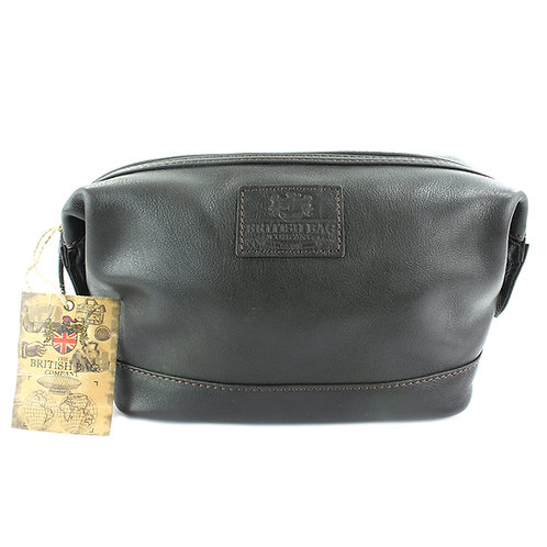 Lyndon Brown Leather Washbag Front View