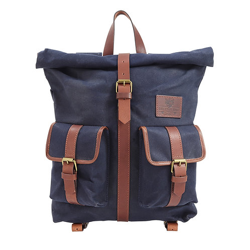 Navy Canvas Roll Top Rucksack