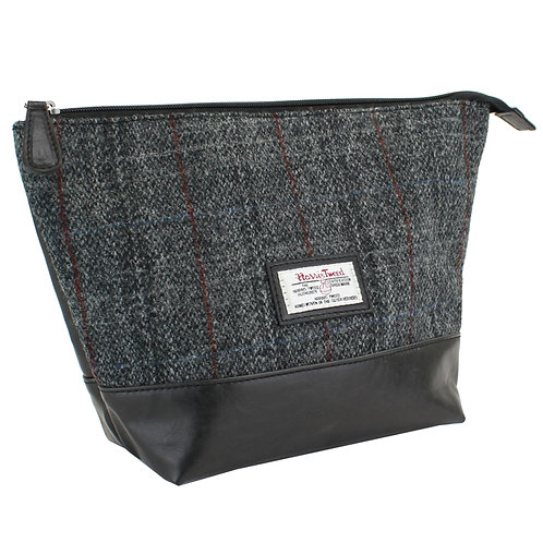 Berneray Harris Tweed PU Washbag Front View