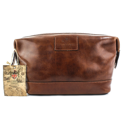 Oakham Tan Leather Washbag Front View