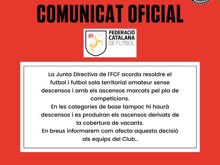 Comunicat oficial de la Federació Catalana