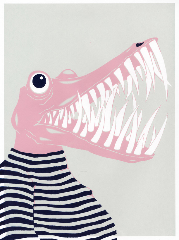 """- met de mond vol tanden staan - to stand with your mouth full of teeth ( to be speechless and / or embarassed)  12""""x16"""" silkscreen print 40.00$"""