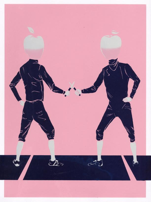 """- een appeltje met iemand te schillen hebben - to have an apple to peel with someone ( having to confront someone )  12""""x16"""" silkscreen print 40.00$"""