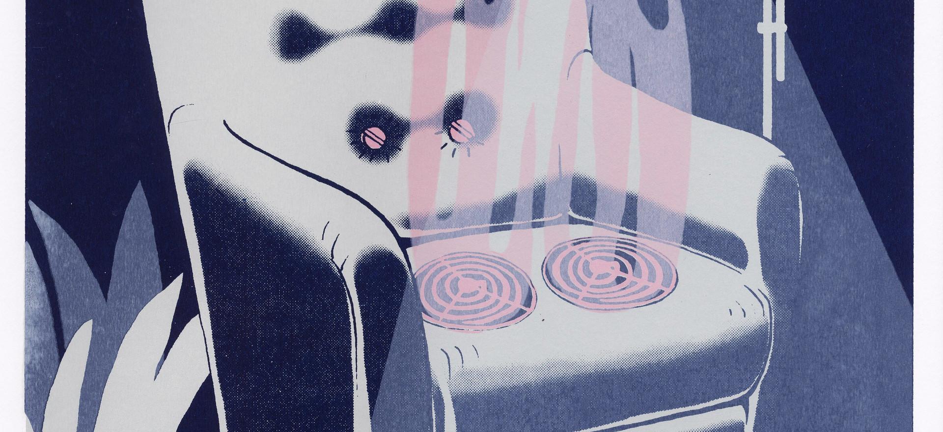 """- wie zijn billen brandt, moet op de blaren zitten - whoever burns their butt cheeks, has to sit on the wounds (we have to live with the consequences of our actions)  12""""x16"""" silkscreen print 40.00$"""