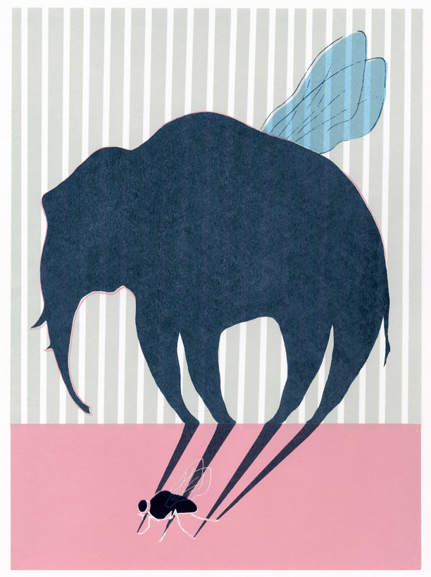 """- van een vlieg een olifant maken - to turn a fly into an elephant ( to make a big deal, when a person exagerates a situation )  12""""x16"""" silkscreen print 40.00$"""
