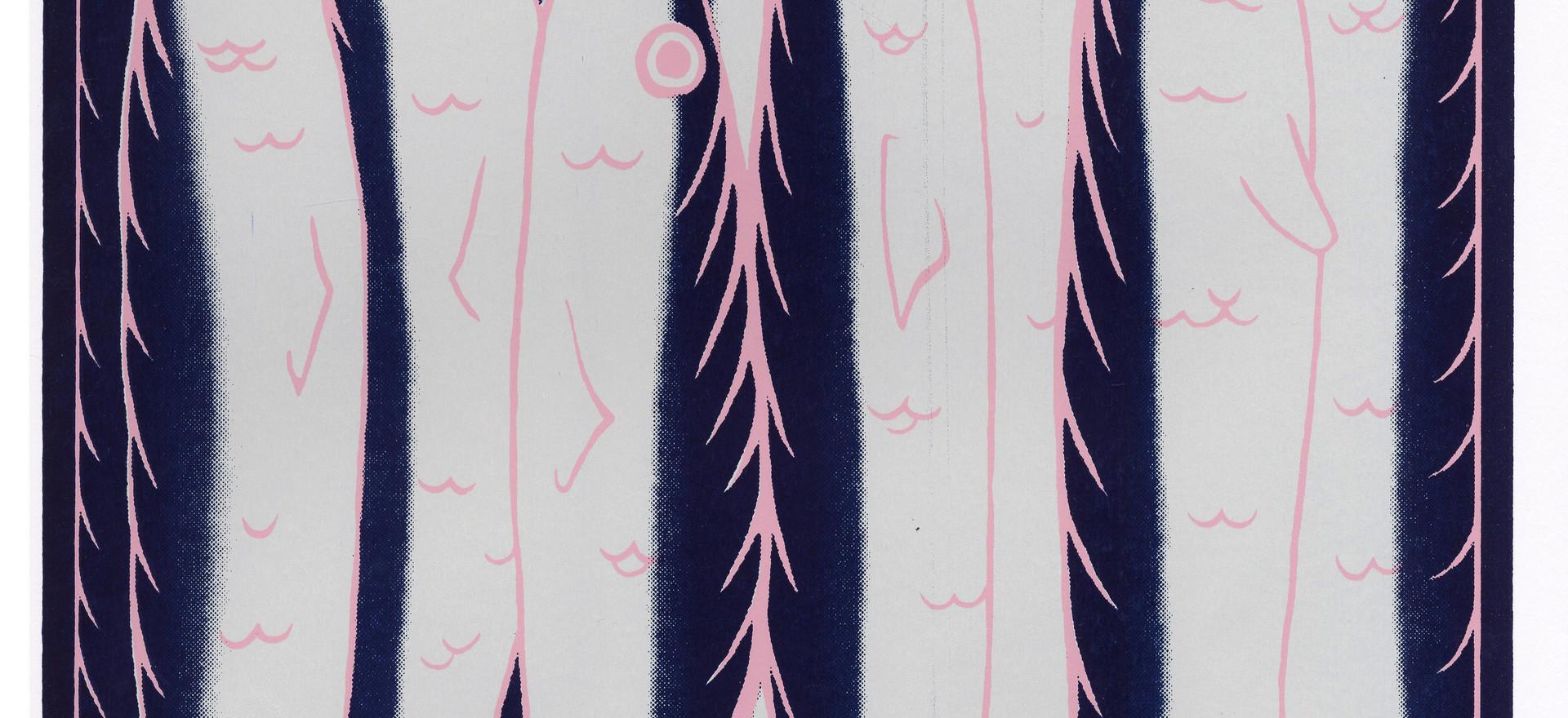 """- als haringen in een ton zitten - like herrings in a barrel ( when it's very crowed )  12""""x16"""" silkscreen print 40.00$"""