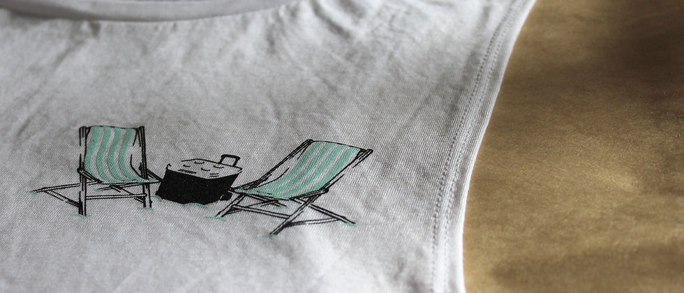 beach chairs screen printed tank top