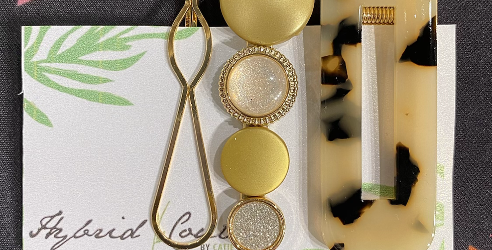 Gold & Tortise Print Clip Set