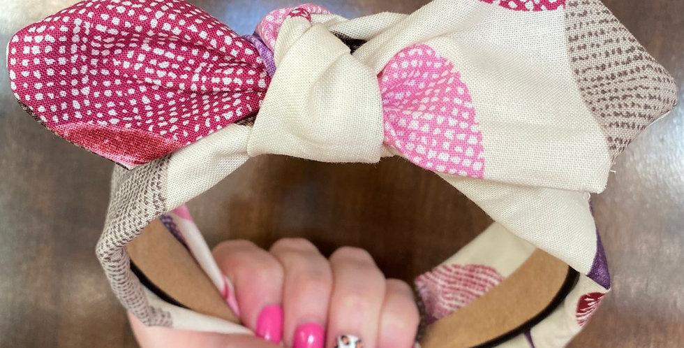 Cream and Colorful Circles Bow Headband