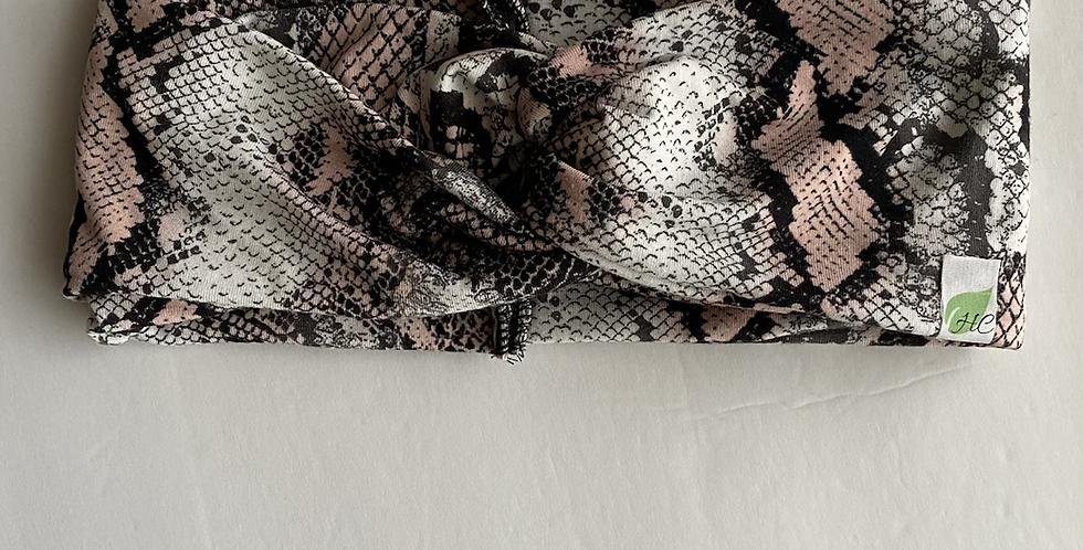 Pink and Grey Snakeskin Headband